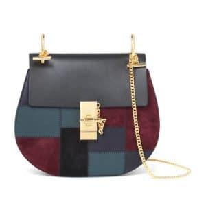 Chloe Multicolor Drew Effortless Patchwork Shoulder Bag