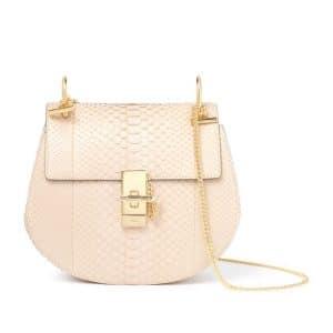 Chloe Pearl Beige Drew Python Shoulder Bag