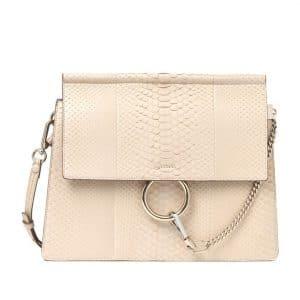 Chloe Pearl Beige Faye Python Shoulder Bag