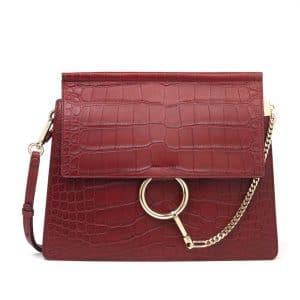 Chloe Red Faye Crocodile Shoulder Bag
