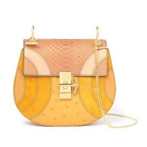 Chloe Yellow Drew Happy Python Shoulder Bag