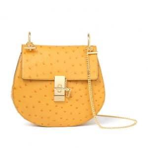 Chloe Yellow Drew Ostrich Shoulder Bag