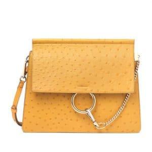 Chloe Yellow Faye Ostrich Shoulder Bag