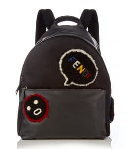 Fendi Black Leather with Shearling Applique Bla Bla Bla Fendi Faces Backpack Bag