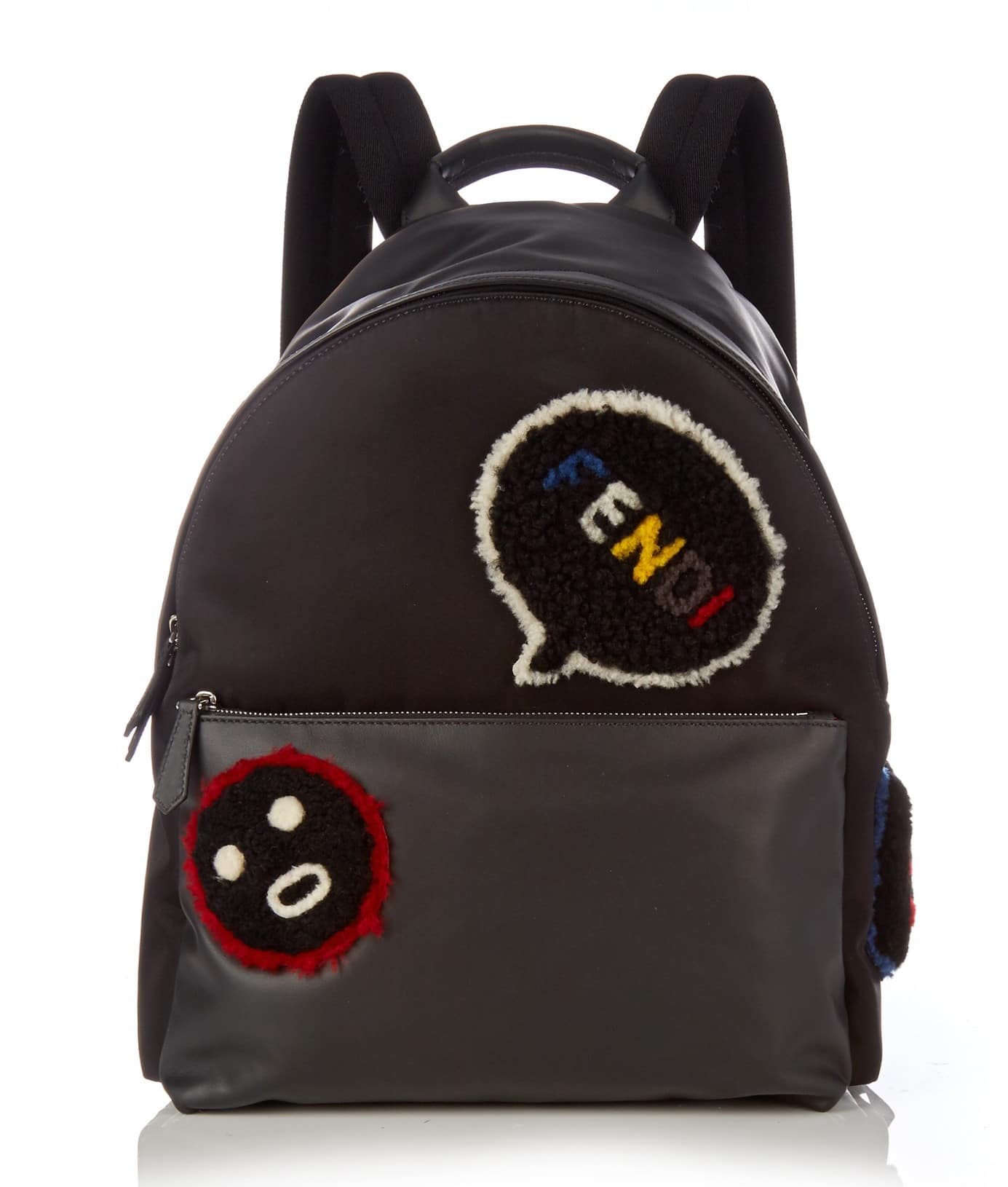 c0d5c1295472 Fendi Black Leather with Shearling Applique Bla Bla Bla Fendi Faces  Backpack Bag