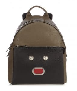 Fendi Black/Military Green Selleria Bla Bla Bla Fendi Faces Backpack Bag