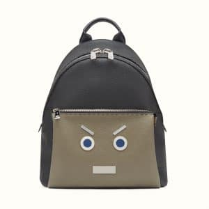 Fendi Black/Military Green Selleria No Words Fendi Faces Backpack Bag