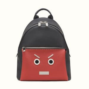 Fendi Black/Red Selleria No Words Fendi Faces Backpack Bag