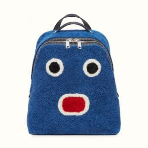 Fendi Cobalt Blue Sheepskin Bla Bla Bla Fendi Faces Backpack Bag