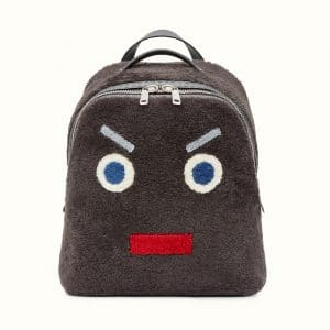 Fendi Dark Gray Sheepskin No Words Fendi Faces Backpack Bag