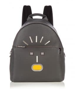 Fendi Grey Selleria Shock Fendi Faces Backpack Bag
