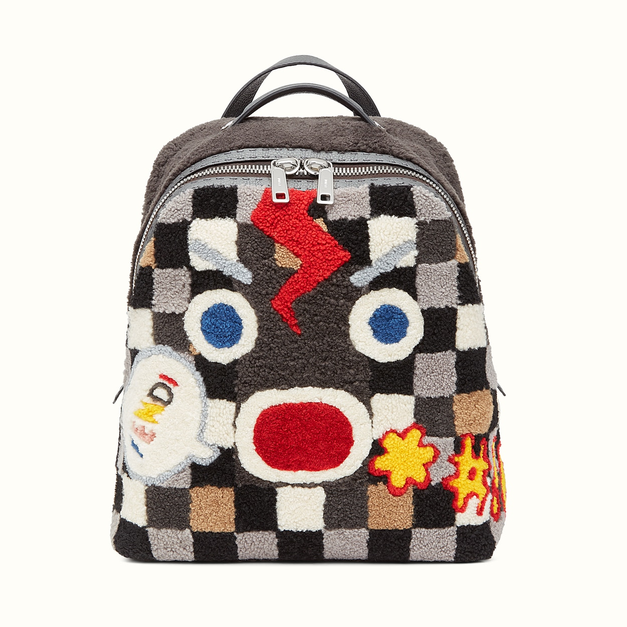ccdad9241c64 Fendi Multicolor Checkered Sheepskin Mad Furious Fendi Faces Backpack Bag