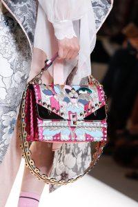 Fendi Pink/Silver Embroidered Flap Bag - Spring 2017