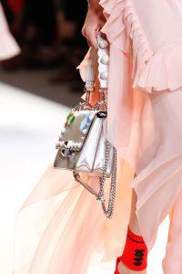Fendi Silver Embellished Flap Bag - Spring 2017