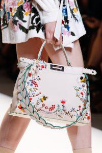 Fendi White Floral Embroidered Peekaboo Bag - Spring 2017
