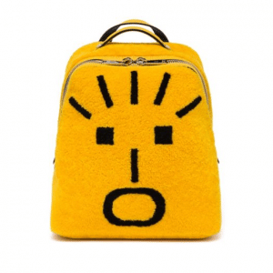Fendi Yellow Sheepskin Shock Fendi Faces Backpack Bag