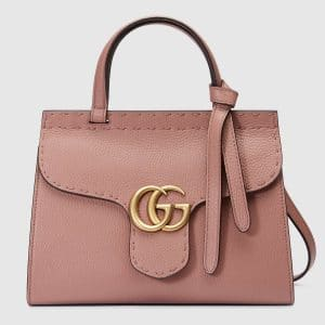 Gucci Antique Rose Leather GG Marmont Mini Top Handle Bag