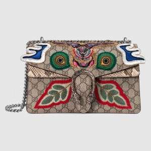 Gucci Beige Embroidered GG Supreme Small Dionysus Bag