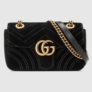 Gucci Black Chevron Velvet GG Marmont Mini Flap Bag