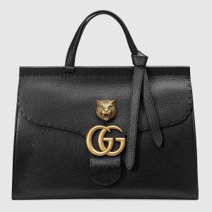 Gucci Black Feline Embellished GG Marmont Medium Top Handle Bag