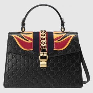 Gucci Black Flame Sylvie Gucci Signature Top Handle Bag