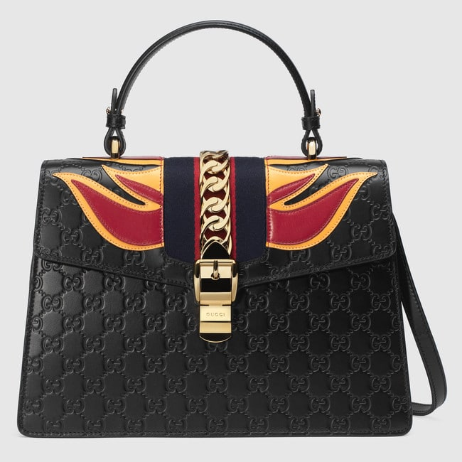 431f6392f88 Gucci Black Flame Sylvie Gucci Signature Top Handle Bag