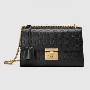 Gucci Black Gucci Signature Medium Padlock Shoulder Bag