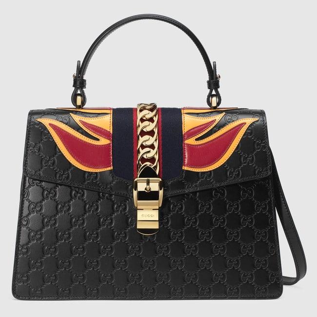 Gucci Black Signature Medium Sylvie Bag