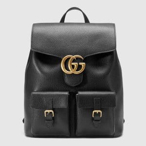 Gucci Black Leather GG Marmont Backpack Bag