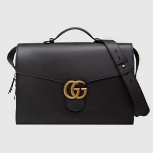 Gucci Black Leather GG Marmont Briefcase Bag