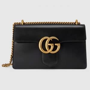 Gucci Black Leather GG Marmont Medium Flap Bag