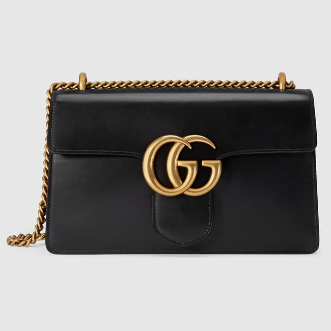 cb67aacc56f Gucci Black Leather GG Marmont Medium Flap Bag