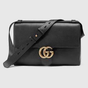 Gucci Black Leather GG Marmont Messenger Bag
