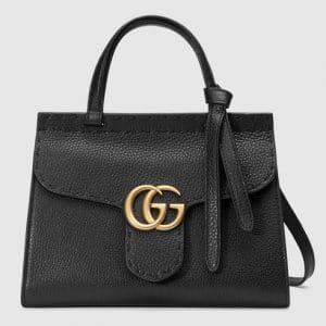 Gucci Black Leather GG Marmont Mini Top Handle Bag