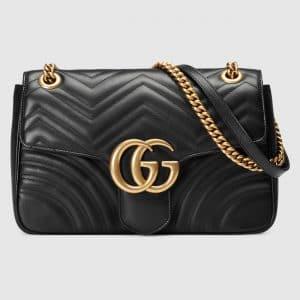 Gucci Black Matelasse GG Marmont Medium Flap Bag