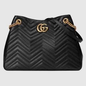 Gucci Black Matelasse GG Marmont Medium Shoulder Bag