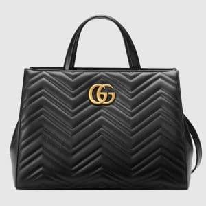 Gucci Black Matelasse GG Marmont Medium Top Handle Bag