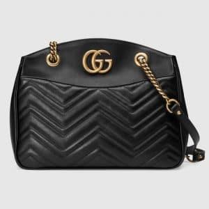 Gucci Black Matelasse GG Marmont Tote Bag