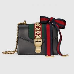 Gucci Black Mini Sylvie Leather Chain Bag