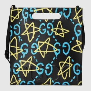 Gucci Black Multicolor Medium GucciGhost Tote Bag