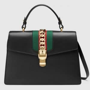 Gucci Black Smooth Leather Sylvie Top Handle Bag