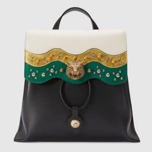 Gucci Black Studded Leather Backpack Bag
