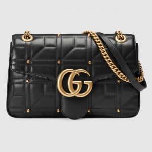 Gucci Black Studded Matelasse GG Marmont Medium Flap Bag
