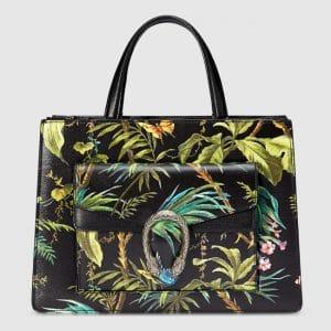 Gucci Black Tropical Print Medium Dionysus Top Handle Bag