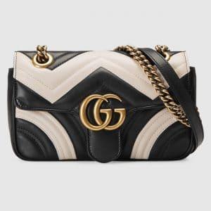 Gucci Black and White Matelasse GG Marmont Mini Flap Bag