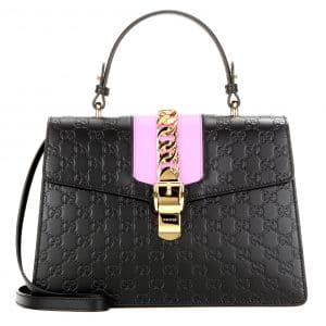 Gucci Black/Pink Sylvie Gucci Signature Top Handle Bag