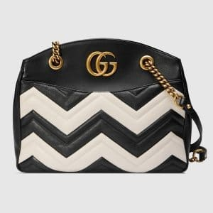 Gucci Black/White Matelasse GG Marmont Medium Tote Bag
