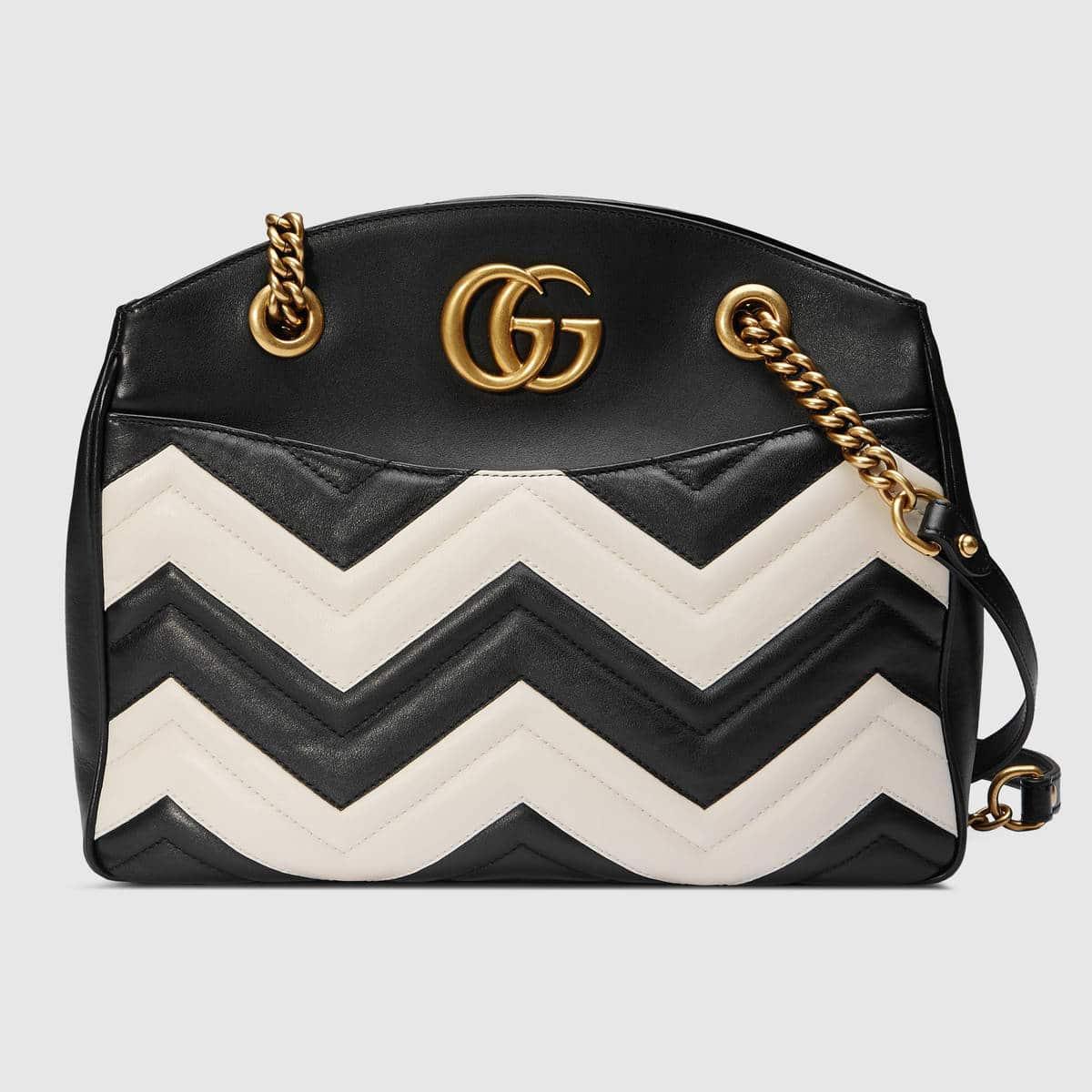 d7c684d62642 Gucci Black White Matelasse GG Marmont Medium Tote Bag