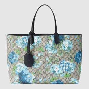 Gucci Blue Blooms Print GG Supreme Large Reversible Tote Bag