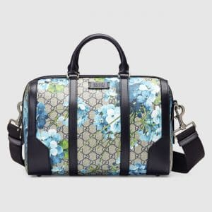 Gucci Blue Blooms Print GG Supreme Small Duffle Bag